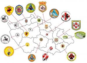 Mapa Záchranných brigád kynologů ČR